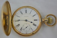 Antique Waltham Pocket Watch 14K Gold with Hunter Case 1892 Vanguard Railroad
