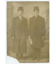 2 YOUNG MEN IN DERBY HATS, LONG DRESS COATS W/ NEWSPAPER VINTAGE PHOTO