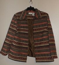 Alfred Dunner Fully Lined Brown Embellished Dressy Jacket Blazer 18W FREE SHIP!