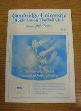 Programma di rugby 2000/2001: Cambridge University V crawshaws Welsh. siamo