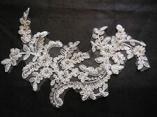 Light Ivory bridal cord floral lace Applique /lace motif for sale.21x14cm.By pcs