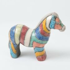 "Raku Pottery Signed Art Collectible Zebra South African Animal Figurine 7"" Long"