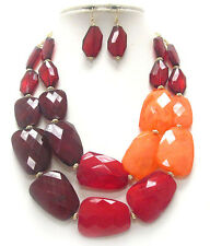 CHUNKY Multi  Acrylic Stone Ruby Red Chili Red Rose  Double  Necklace Set