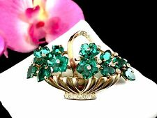 RARE 1949 A. PHILIPPE CROWN TRIFARI FRUIT SALAD DEW DROP FLOWER BASKET BROOCH