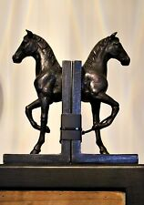 large Bronze Horse Bookends Set of 2 Book Ends Animal Head Luxury Gift Brown