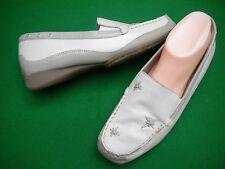 LADIES  KUMFS CREAM/MUSHROOM  LEATHER LOW WEDGE SHOES SIZE 10 / 41W