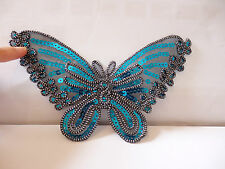 2 Extra large blue lace butterfly applique motif sew on iron on patch sequin