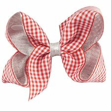 Gingham Hair Clip Bow GIRLS' School Hair Accessories(RED&WHITE)