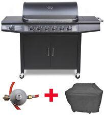 Sparset Gasgrill BBQ Grillwagen 6 Edelstahl Brenner Gas + Seitenkocher + Zubehör