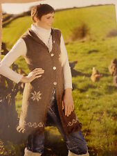Knitting Pattern To Knit  Lady's  Long Waistcoat  With Hood In Chunky Wool.