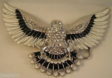 American Eagle Chrome Black White Enamel Diamante Bling Belt Buckle fix own belt