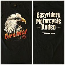 Vintage 80s 1989 Born Wild 3D Easyriders Motorcycle Rodeo T-Shirt Punk Rock