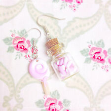 Orecchini LeccaLecca Lollipop Candy Marshmallow ~ Cute Jar Bottle Earrings Pink