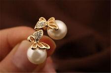 Crystal Golden Butterfly Imitation Pearl Eardrop Ear Stud Earrings for Womens