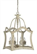 LOVELY VINTAGE FRENCH FARMHOUSE RESTORATION STYLE WOOD LANTERN CHANDELIER