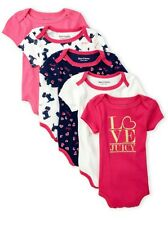 Juicy Couture Baby Girl 5 Piece Mascot dog Bodysuit Set ~Pink White & Gold 0-3M