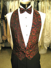 Mens Vintage Formal Vest Red / Wine Floral Size Medium Matching Bow Tie Included