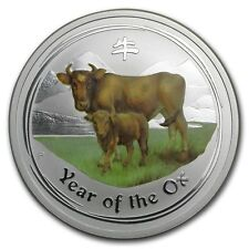Perth Mint Australia 2009 $ 0.5 Coloured Ox Half 1/2 oz .999 Silver Coin