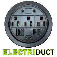 Power Tap Grommet Desk Outlet Table - Hidden Power Center 3 Power 2 USB 1 Cat5E