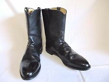 "MENS 3133 JUSTIN 10"" BLACK KIPSKIN LEATHER ROPER BOOTS SIZE 14E - NICE!"