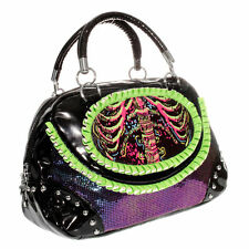 Too Fast/ Rib cage hand bag/ green-black-multi - 221