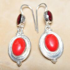 "Handmade Genuine Red Coral 925 Sterling Silver 2"" Earrings #E00249"