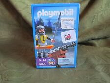Playmobil - Knights - LION KNIGHT CANNON GUARD (#4870) - New in box -torch spear