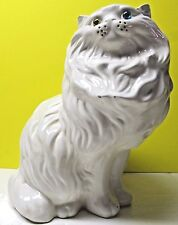 "Vintage 1970 Large White Cat Figure - Ceramic w/ green & blue eyes - 15"" hgt(47)"