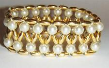 VTG GOLDTONE FAUX PEARL STRETCH STATEMENT BRACELET BEADED WIDE BANGLE COSTUME