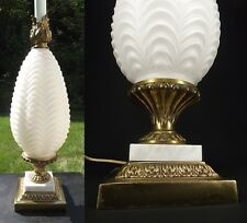 ORNATE ANTIQUE table lamp SOLID BRASS GLASS hollywood regency vintage MARBLE