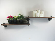 Rustic Industrial Urban Retro Iron Pipes 2 Tiers Wooden Shelf Wall Mount Shelves