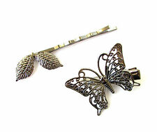 2x Gun Black Dark Silver Leaf Butterfly Hair Clips Grips Bobby Pins Goth 1190