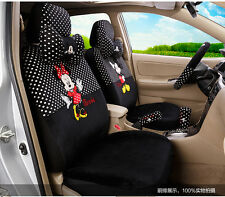 ** 18 Piece Black&White Polka Dot Mickey and Minnie Car Seat Covers **