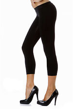 Cropped Leggings S-L (2-10) Polyester Spandex Seamless Solid Black Tight Fit