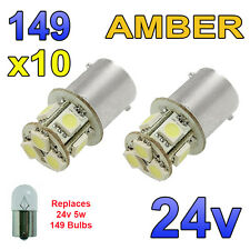 10 X ámbar 24v Led Ba15s 149 r5w 8 Smd número Placa Interior bombillas de vehículos pesados, Camiones