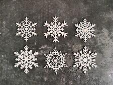 "Wooden Snowflake Christmas Holiday Ornaments - Set of 6 - 4"" Size - Laser Cut"