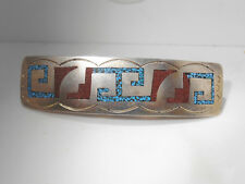 Vintage Aztec Sterling Silver Turquoise, and Red Coral Barrette/ Hair piece