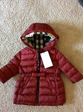 NWT BURBERRY BABY CHILD CRIMSON RED Bow NOVA Check Puffer Jacket 6 Months