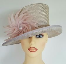 Ladies Wedding Races Mother Bride Ascot Hat Buff Pink by Whiteley