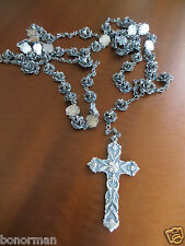 """Old Rose Carved Sterling silver Rosary Long 49 """" +2"""" Repousse Cross 75gr.Rare!"""