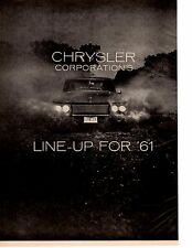 1961 CHRYSLER CORPORATION ~ ORIGINAL 8-PAGE NEW CAR PREVIEW ARTICLE / AD