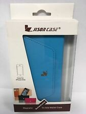 Jisoncase Magnetic Tri-fold Wallet Case iPhone 5/5s JS-I5S-02H40 ✓NEW✓ BLUE