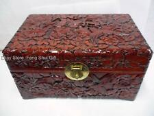 Big Wood Wooden Ornate Jewelry Storage Box Hand Carved Bird Flower Floral Chest
