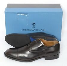 Mens SUTOR MANTELLASSI Brown Leather Captoe Oxford Shoes UK 8 US 9 D NIB $975