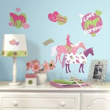 44 New HORSE CRAZY WALL DECALS Girls Horses Stickers Pink Bedroom Decor