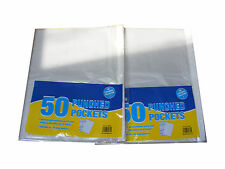 100 PACK A4 PUNCH PUNCHED CLEAR PLASTIC FILING BINDER POCKETS SLEEVES WALLETS