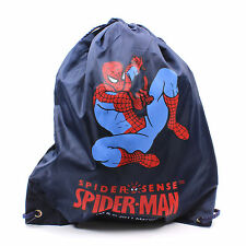 Bag Backpack Spiderman Marvel Kids School Drawstring Travel Blue Boys