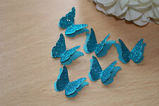25 TEAL/AQUA GLITTER SHIMMER 3D BUTTERFLY WEDDING CONFETTI, TABLE DECORATION