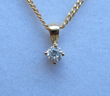 "New .10ct Diamond Solitaire 9ct Yellow Gold Pendant Necklace & 20"" Chain"