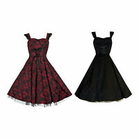 Moulin Rouge 1950's Vintage Brocade Lace Up Full Circle Netted Dress New 8 - 18
